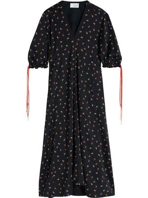 Puff Sleeve Ditsy Floral Maxi Dress