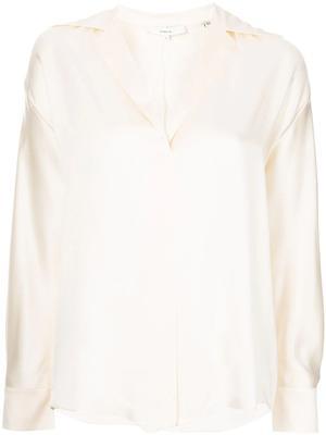 Open Collar Silk Top