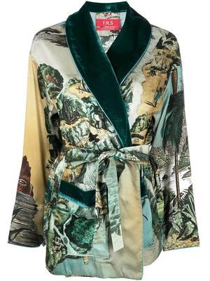 Jungle Print Tie Waist Robe