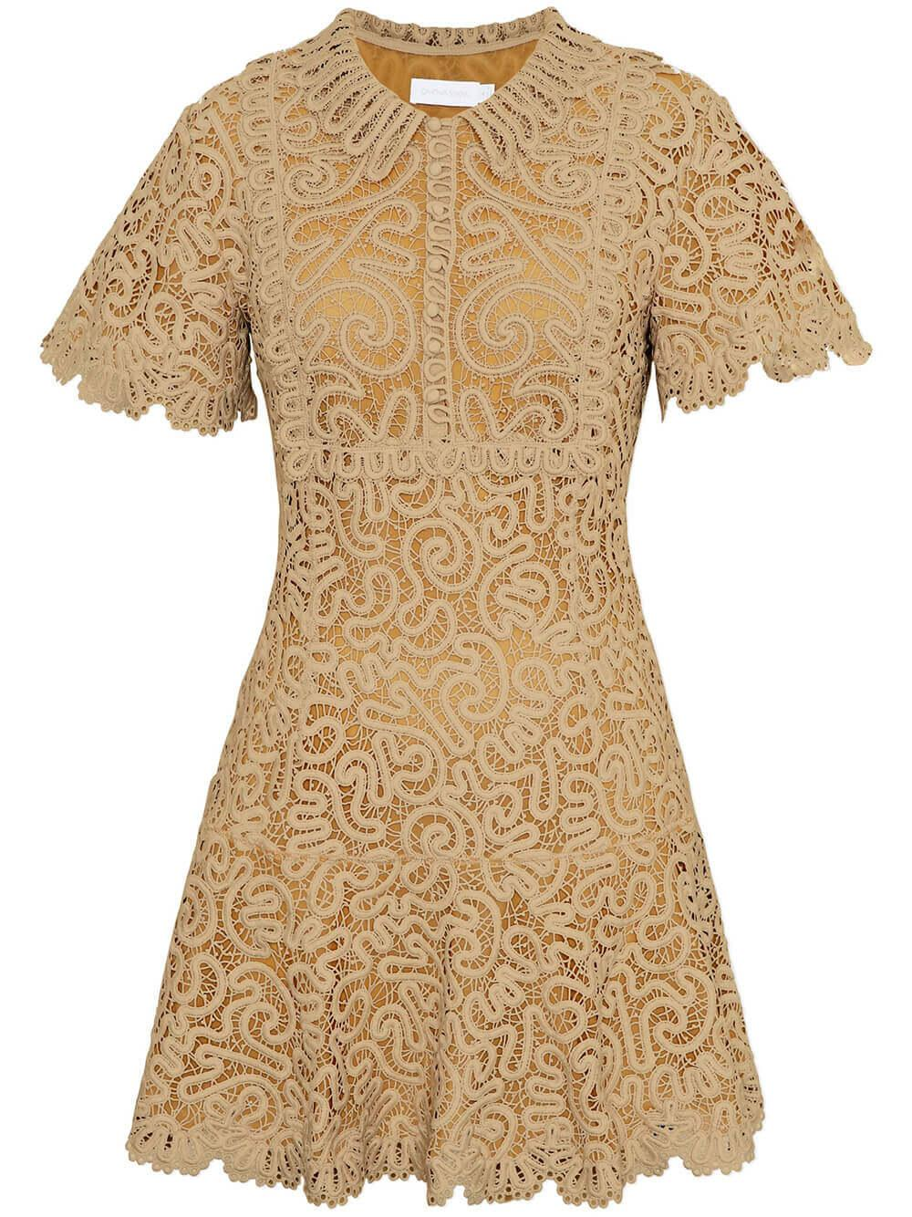 Cheyenne Guipure Flutter Sleeve Dress Item # 521-1063-G