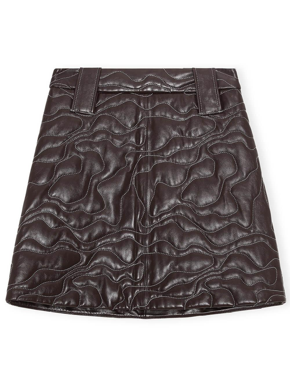Quilted Leather Mini Skirt Item # F6389