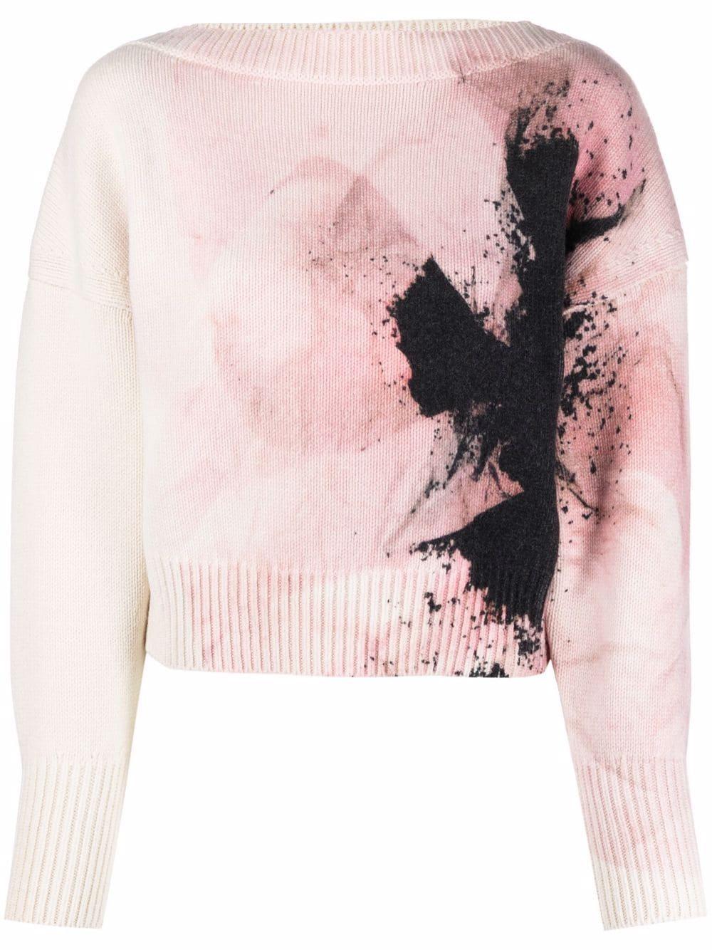 Printed Boatneck Sweater Item # 679403Q1AW2