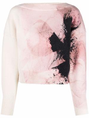 Printed Boatneck Sweater