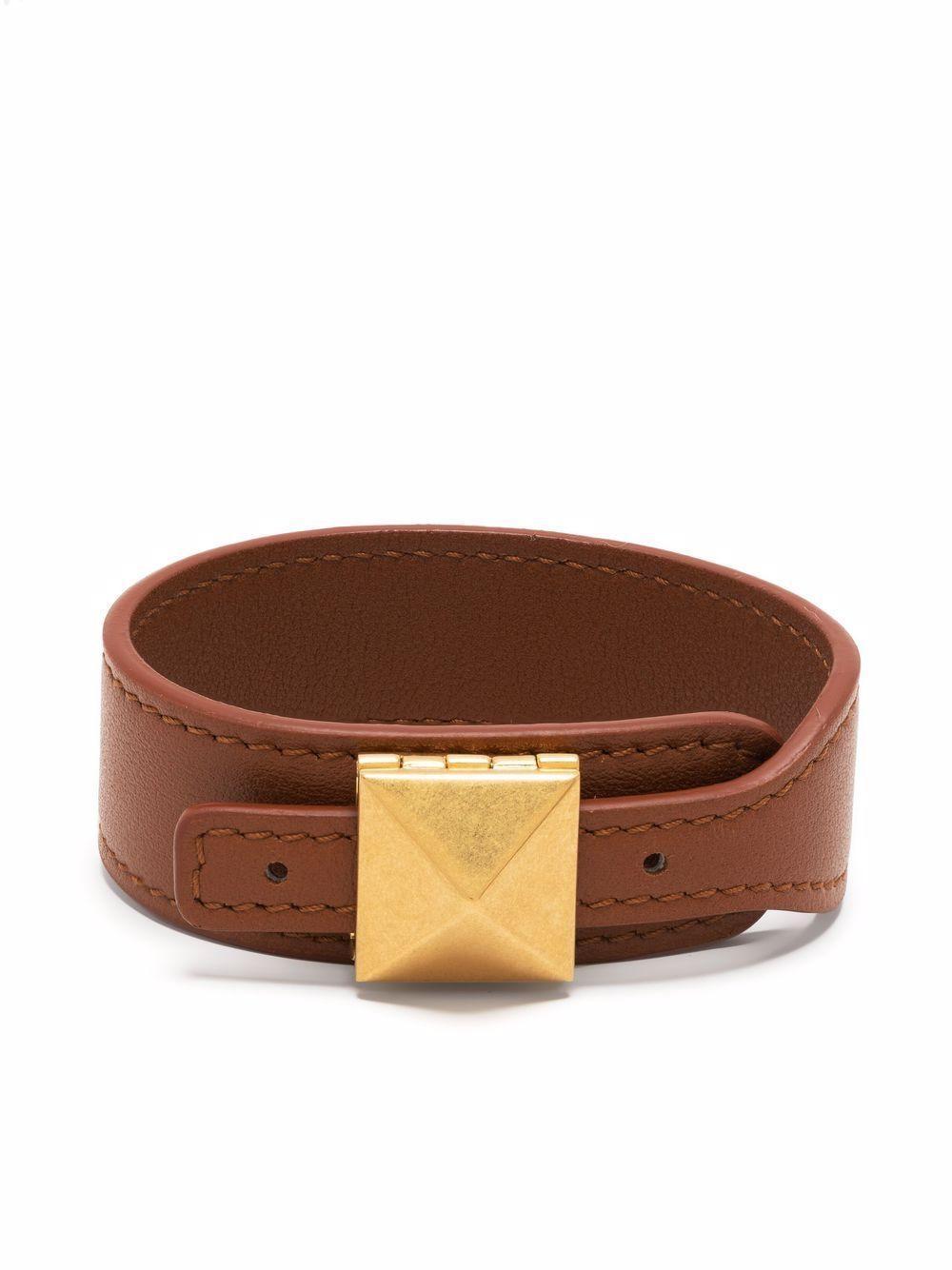 Rockstud Leather Bracelet Item # WW2J0P08GZN