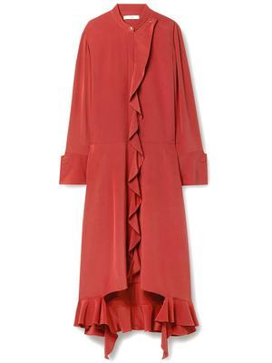 Eco Silk Detached Ruffle Shirt Dress