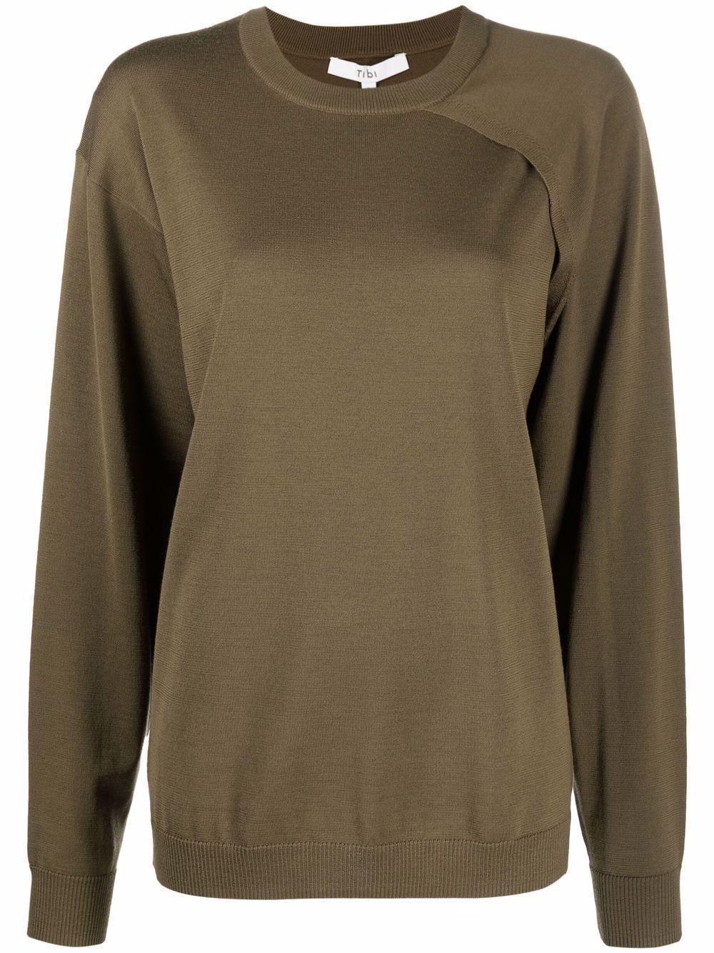 Mele Merino Wool Asymmetrical Sleeve Sweater Item # F121MW6347