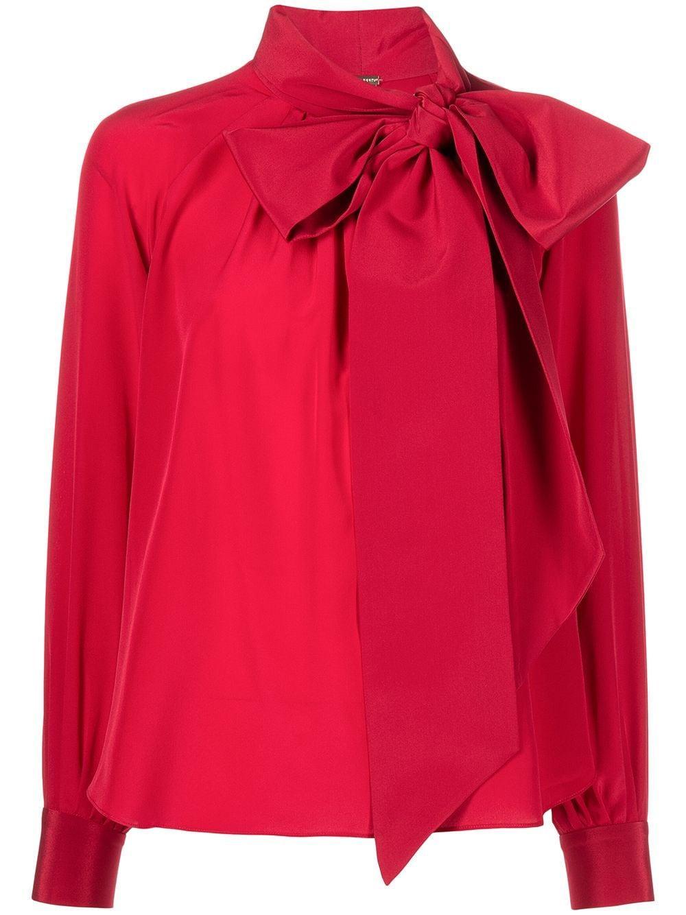 Silk Bow Neck Blouse Item # F21124CR