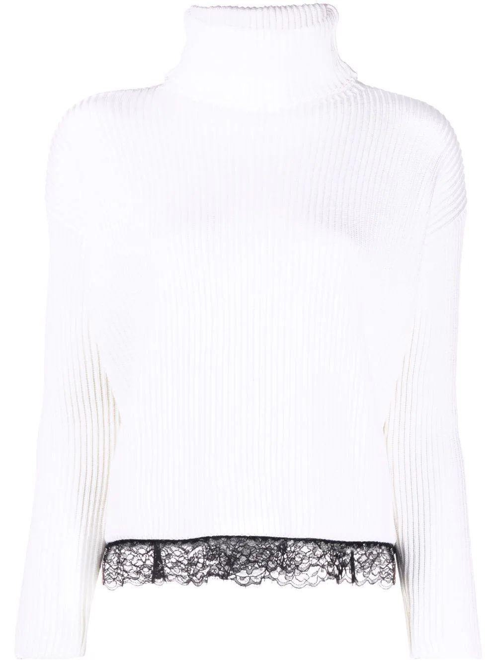 Turtleneck Sweater With Lace Trim Item # WR0KC10T672