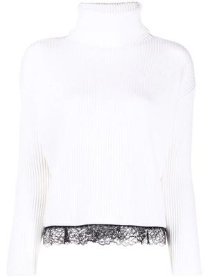 Turtleneck Sweater with Lace Trim