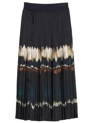 Filo Twill Pleated Midi Skirt