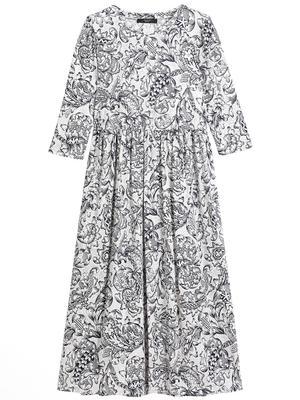 Printed Jersey Midi Dress