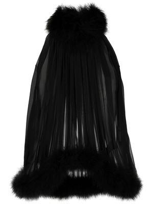 Feather Embellished Halter Blouse