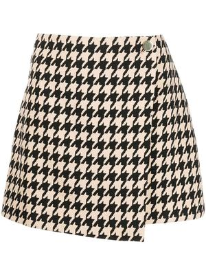 Renna Houndstooth Wrap Mini Skirt