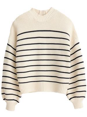 Button Back Crewneck Stripe Sweater