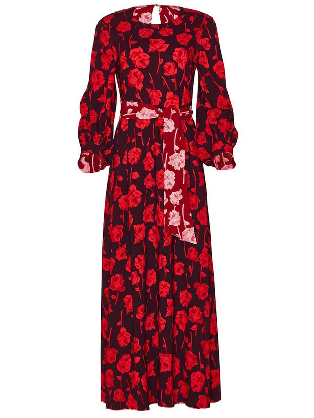 Rose Print Reversible Midi Dress Item # F219705