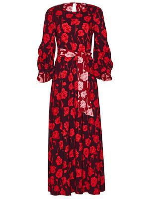 Rose Print Reversible Midi Dress