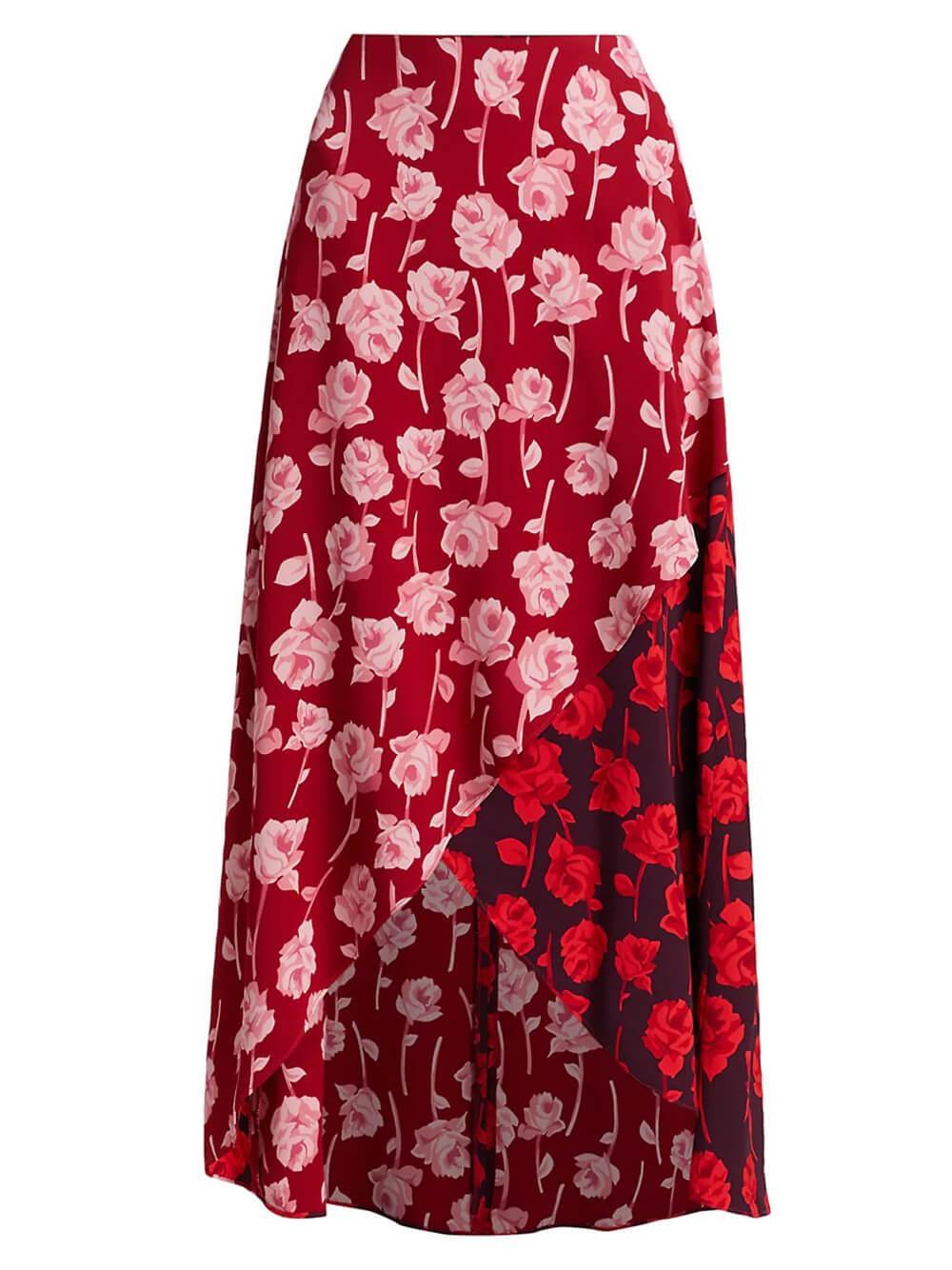 Mixed Rose Print Midi Skirt Item # F211451