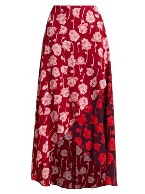 Mixed Rose Print Midi Skirt