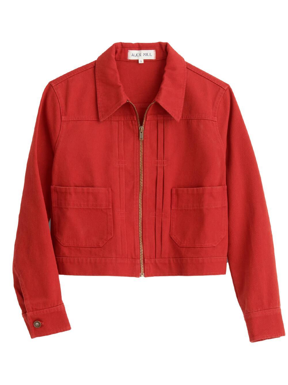 Shrunken Recycled Denim Jacket Item # 216-WJ036-2804