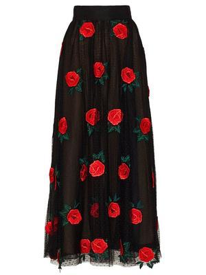 Rose Embroidered Tulle Midi Skirt