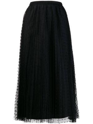 Sheer Dot Midi Skirt