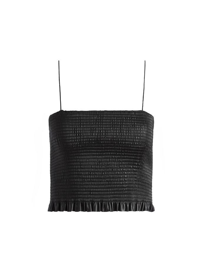 Penelope Vegan Leather Smocked Crop Top Item # CC108J16015