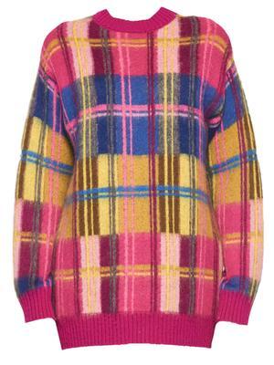 Drop Shoulder Plaid Sweater