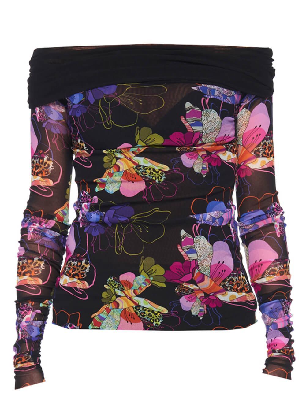 Off The Shoulder Floral Mesh Top Item # F13710-10056