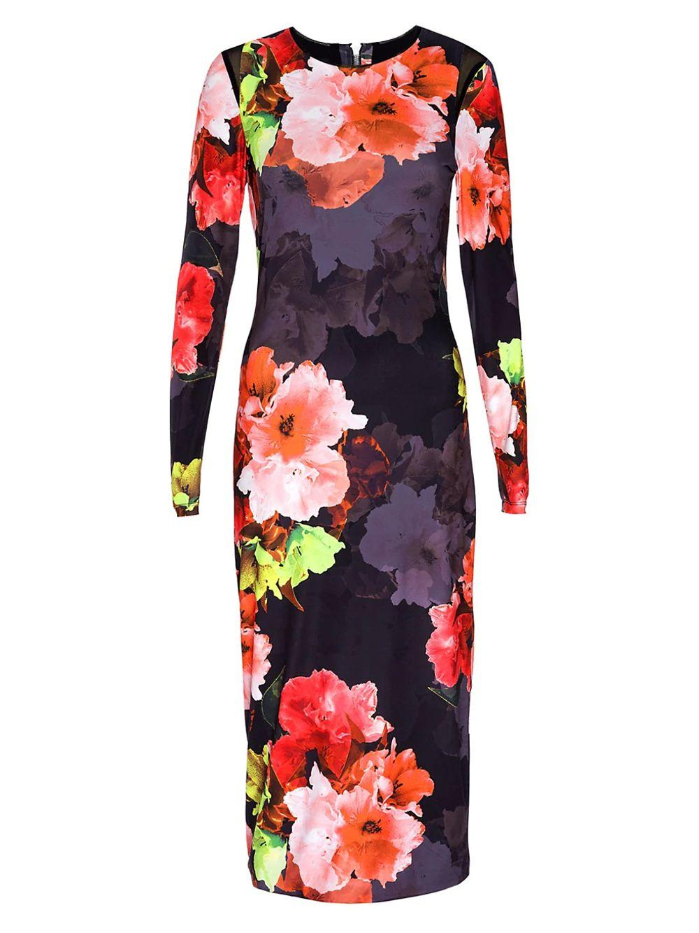Kate Floral Mesh Midi Dress Item # 3030PH-FW21