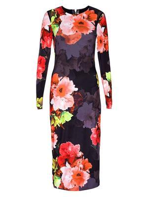Kate Floral Mesh Midi Dress