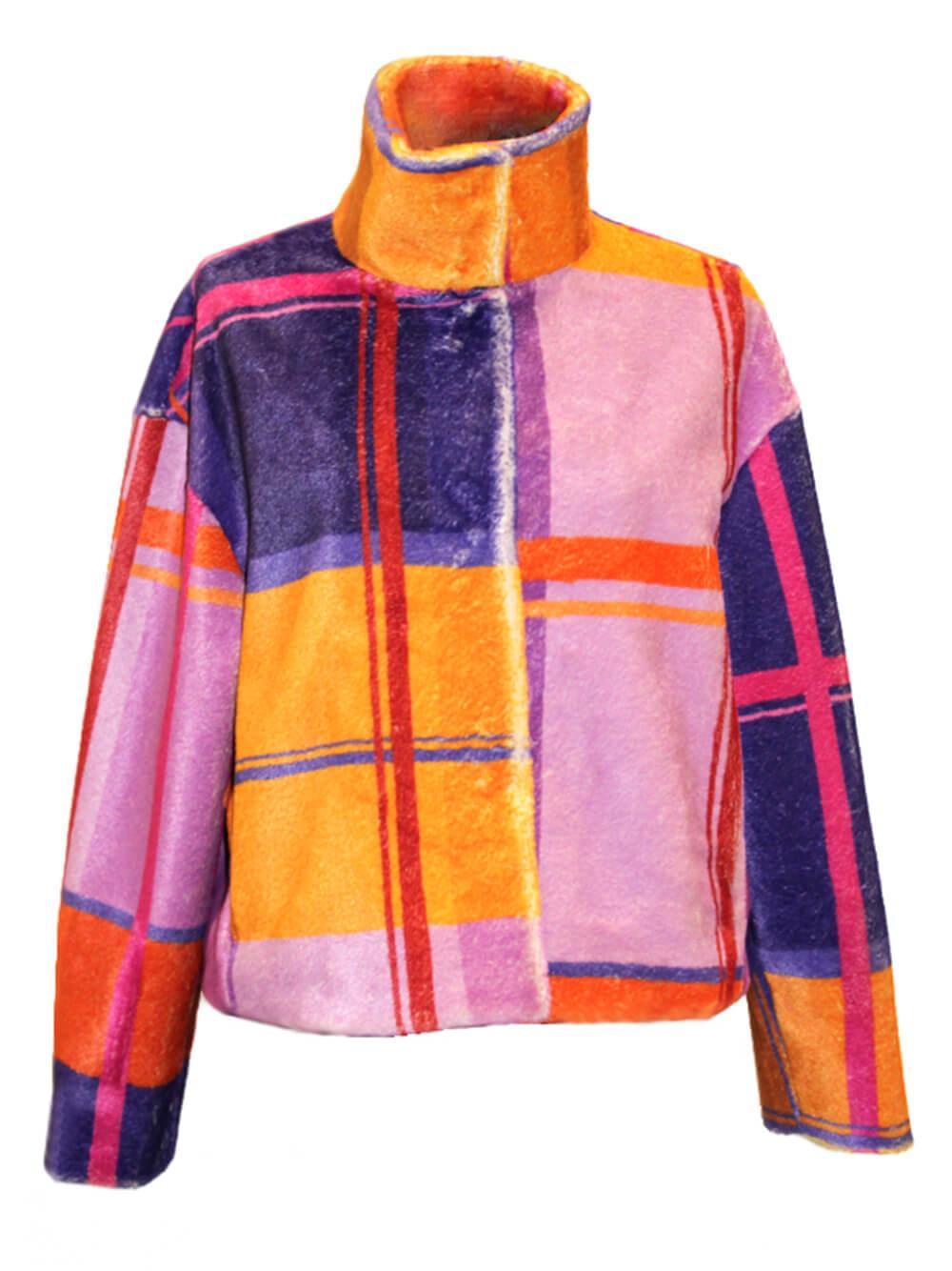 High Neck Plaid Winter Coat Item # F13624-11682