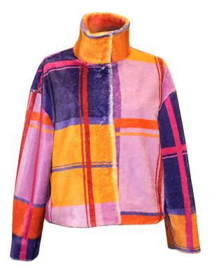 High Neck Plaid Winter Coat