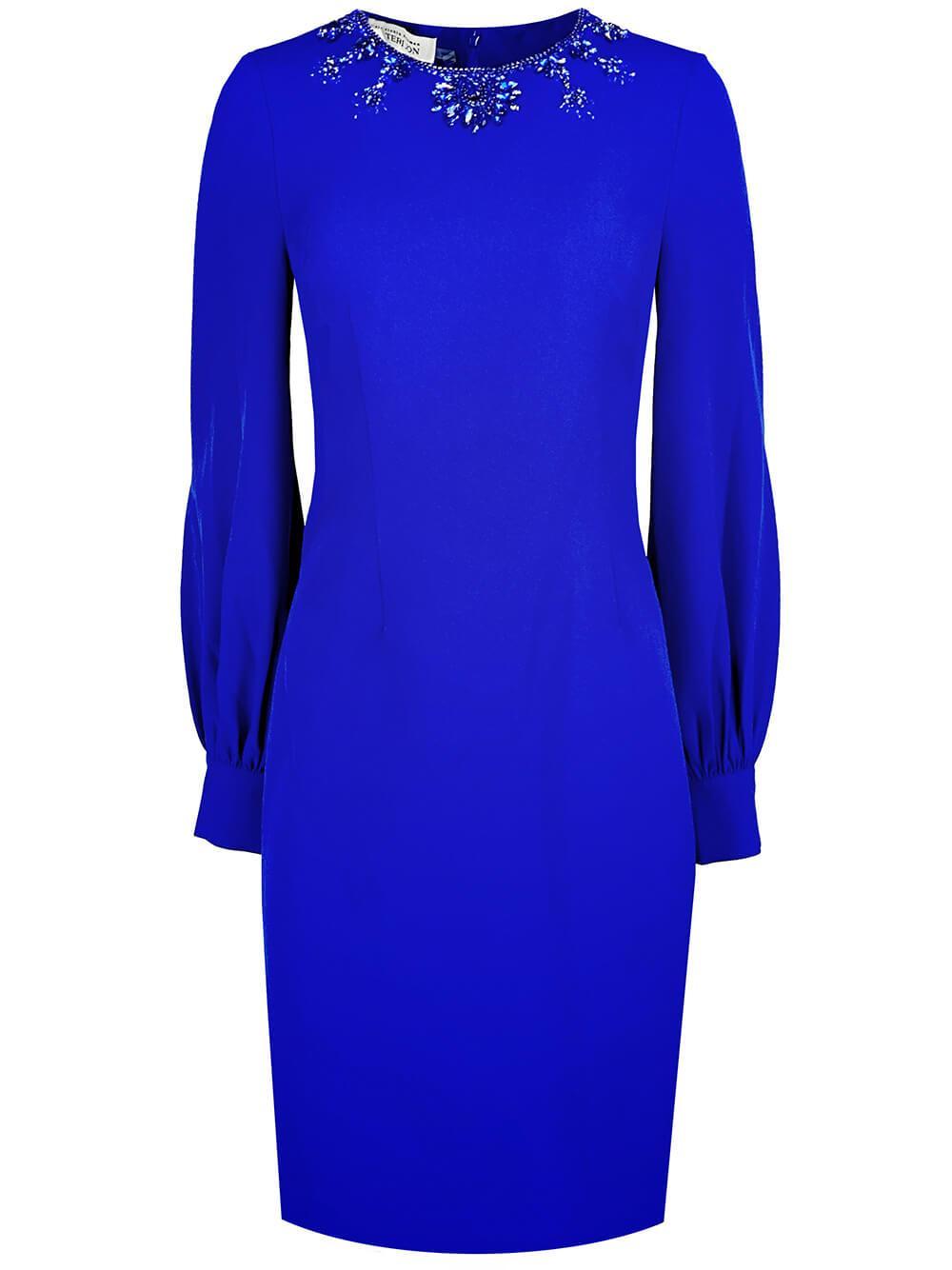Jeweled Neckline Sheath Dress Item # 217209