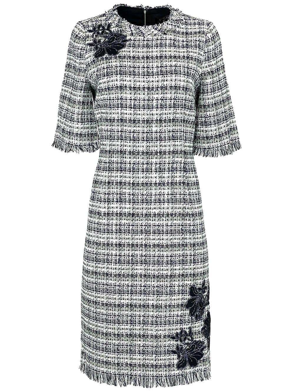 Tweed Frayed Hem Dress Item # 21328