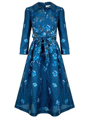 Floral Jacquard Collared Dress