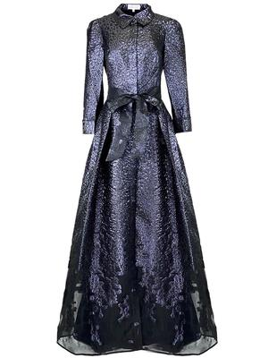 Jacquard Collared Ball Gown