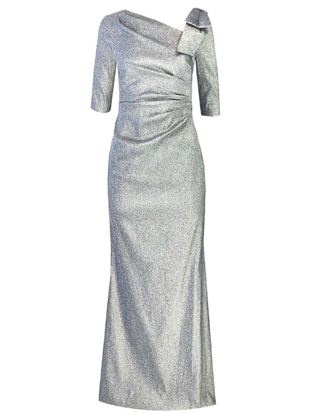 Stretch Metallic Bow Shoulder Gown Item # 219015