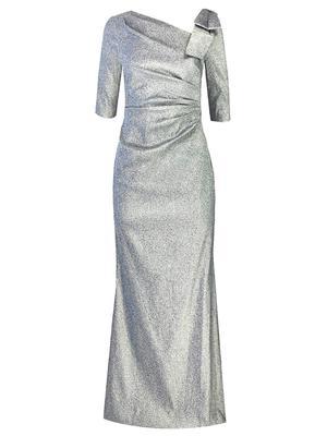Stretch Metallic Bow Shoulder Gown