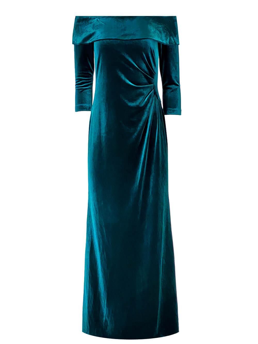 Off The Shoulder Velvet Gown Item # 67037-F21