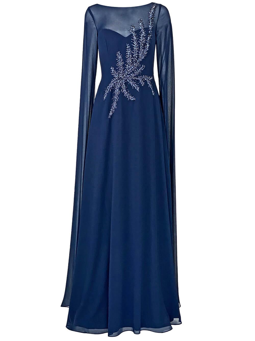 Embellished Chiffon Cape Gown Item # 217047