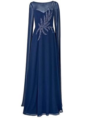 Embellished Chiffon Cape Gown