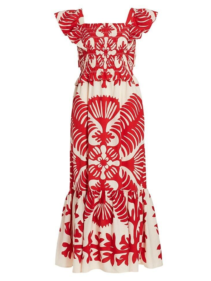 Henrietta Print Smocked Dress Item # PF21-16121