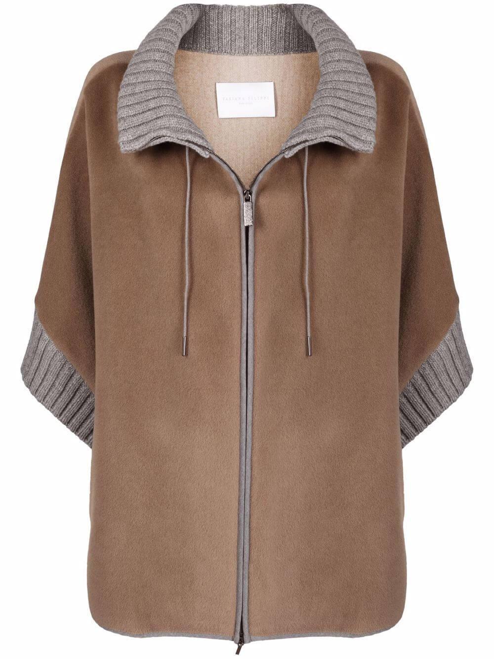 Zip- Up Sweater Poncho Item # CTD221W235