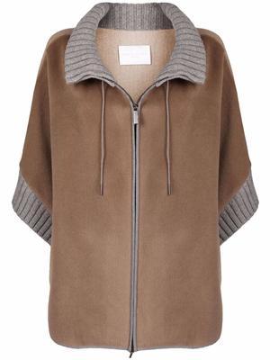 Zip-Up Sweater Poncho