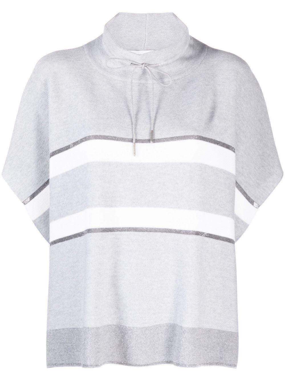 Striped Turtleneck Poncho Sweater Item # MAD221W016
