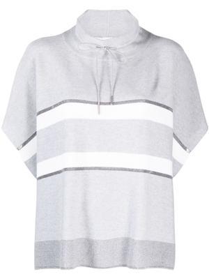 Striped Turtleneck Poncho Sweater