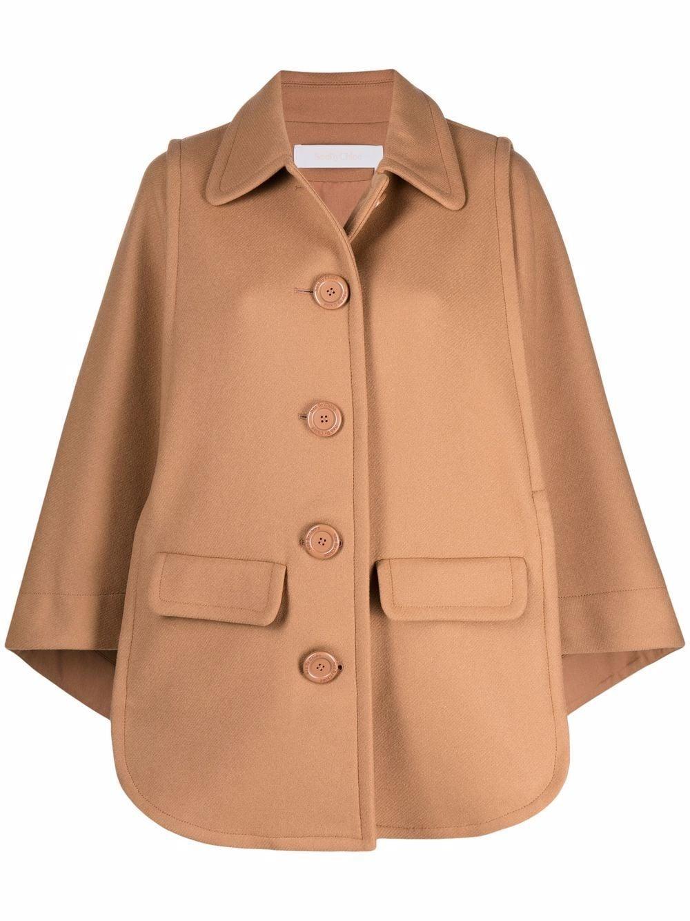 Wool Blend Cape Overcoat Item # CHS21WMA01