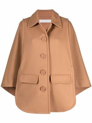 Wool Blend Cape Overcoat
