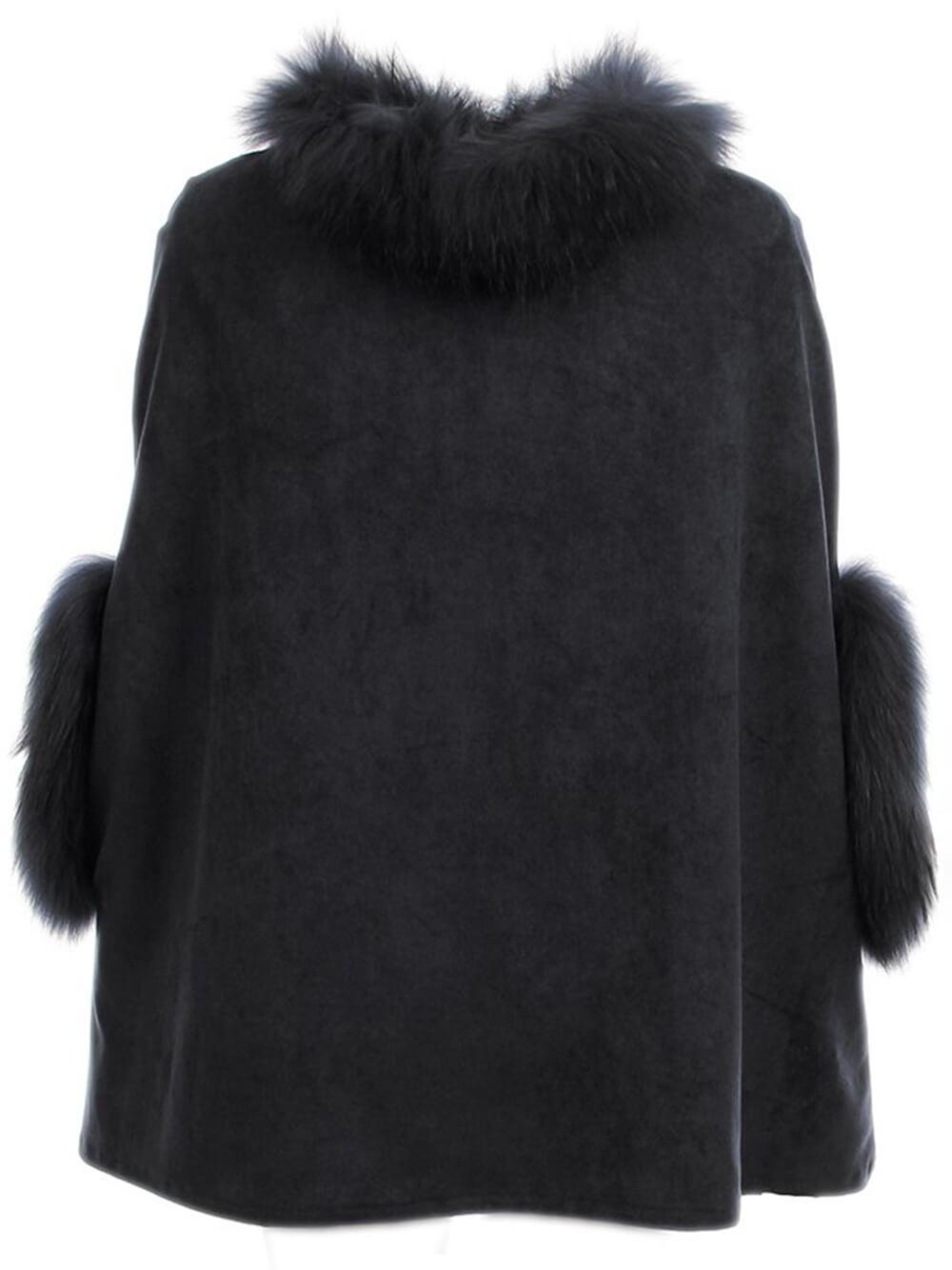 Faux Suede Cape With Fur Trim Item # 71737-F21