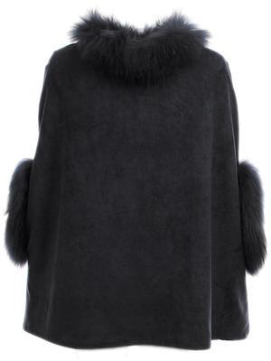 Faux Suede Cape with Fur Trim